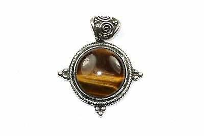 Vintage Ethnic Round Beaded Tiger's Eye Pendant 1.75 In 925 Sterling Pd 61