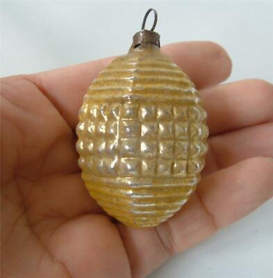 Antique German Blown Mercury Glass Ornament Gold Silver Embossed Egg Waffle Step
