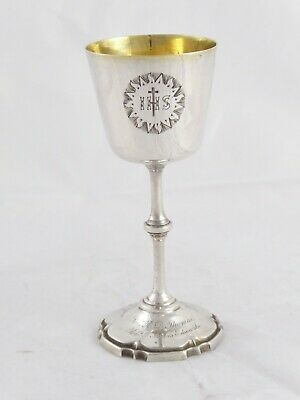 LOVELY ANTIQUE VICTORIAN SOLID STERLING SILVER COMMUNION CHALICE CUP 1863 51 g