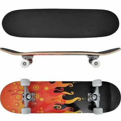 Skateboard Ovale Planche à roulettes Skate-board 9 Couches Erable  Flammes 8''