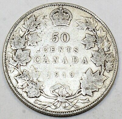 1910 Canada / Canadian Fifty-Cent Half-Dollar - VG Very Good - Edward Leaves