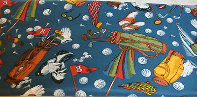 """13"""" Sports Fabric Art of Golf Allover on Blue Clubs Shoes Iron Balls"""