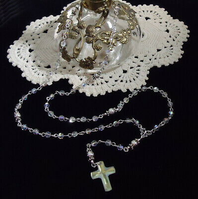 0019bcf5d Miniature 5 Decade STERLING SILVER Rosary with Swarovski AURORA Crystals