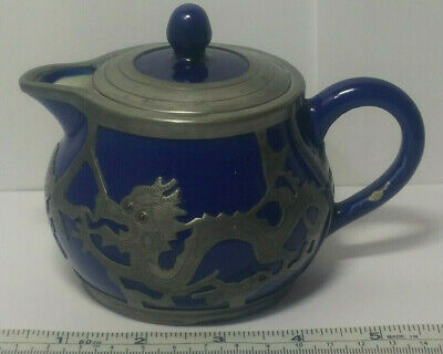 Antique Chinese Pewter Dragon Overlay Cobalt Glaze Pottery Teapot Stamped Cheng