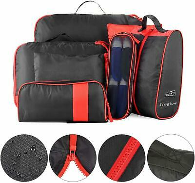 Travel Luggage Organizer Compression Pouches Waterproof 7 Packing Cubes Black