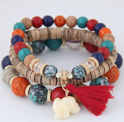3Pc/Set Boho Beaded Bracelet Women Elephant Tassel Charm Wood Bracelet Beach USA