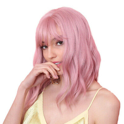 Synthetic Pink Wigs With Bangs Short Natural Wave Cosplay Party Wigs For Women