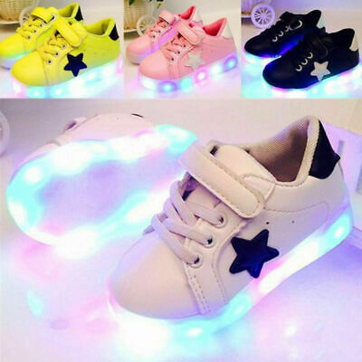 LED Light Up Luminous Shoes Kids Toddler Infants Casual Trainers Boy Girl Gift