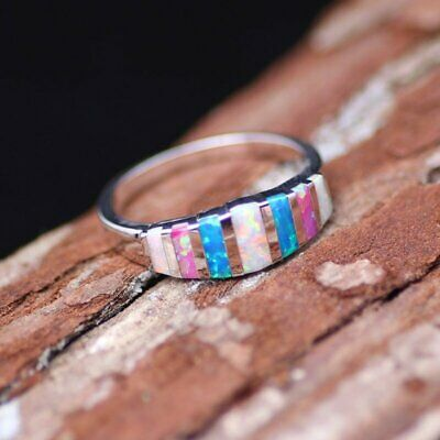 Charm Gorgeous Silver Women Wedding Rings Multi-color Ring Size 7-9 Jewelry Hot