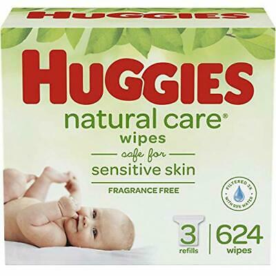 HUGGIES Natural Care Unscented Baby Wipes, Sensitive, 3 Refill Packs. 624 Total