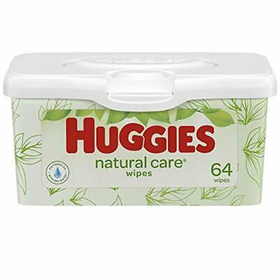HUGGIES Natural Care Unscented Baby Wipes, 4 Refillable Tubs, 64 Wipes per Tub