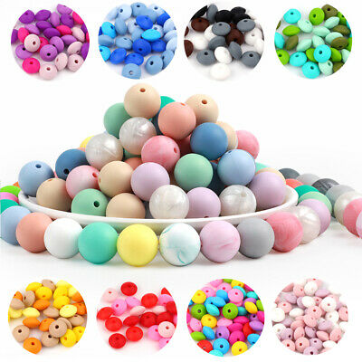 20X Silicone Beads Baby Teething Toy Teether Bead Chew Necklace Pacifier Chain