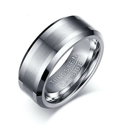 Tungsten Carbide Men's Silver Brushed Comfort Fit 8MM Wedding Band Ring M110