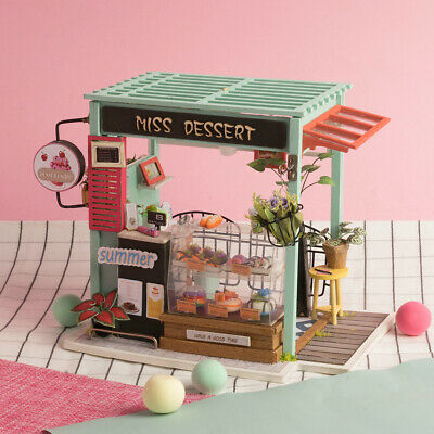 Rolife DIY Miniature Doll Houses Wooden Dessert Shop Model Toy Gift for Girls