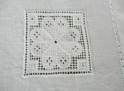 "ANTIQUE TABLECLOTH-HAND EMBROIDERED NET MOTIFS-LINEN-44""sq."