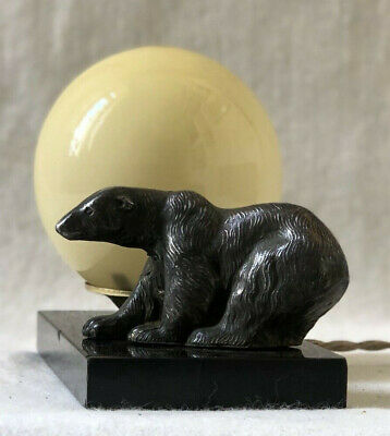 French Art Deco Mood Lamp With Polar Bear & Pale Yellow Glass Shade. Marble Base