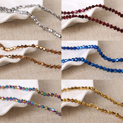 Wholesale lots Metallic Faceted Glass Crystal Bicone Loose Spacer Beads 4/6/8mm