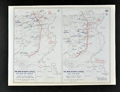 West Point WWII Map Race for Tunisia & Axis Attack North Africa War Tank Battles