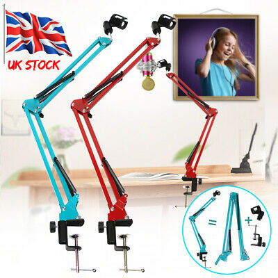 Adjustable Microphone Suspension Boom Scissor Arm Mic Stand Studio Recording UK