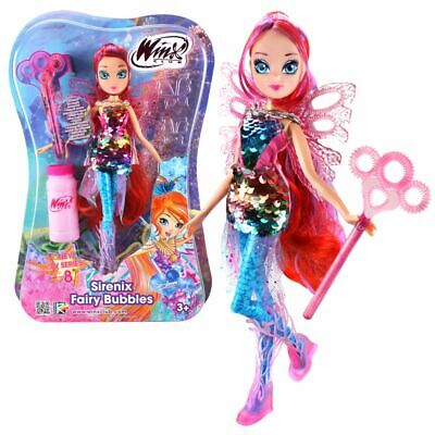 Bloom | Sirenix Fairy Bubbles Puppe | Winx Club | Fee 28 cm | Seifenblasen Magie