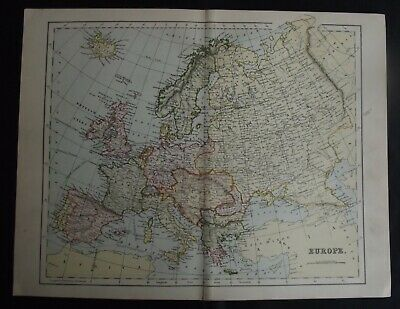 Antique Map: Continent of Europe, c 1880, Colour