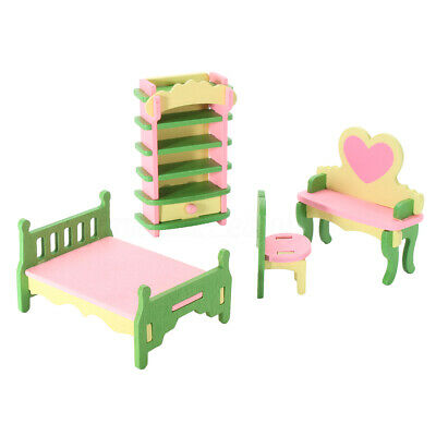 Wooden Retro Doll House Miniature Bedroom Furniture Set Kids Role Play Toys Gift
