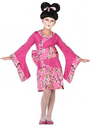 Girls Pink Japanese Geisha Oriental Chinese Fancy Dress Costume Outfit 3-12 yrs