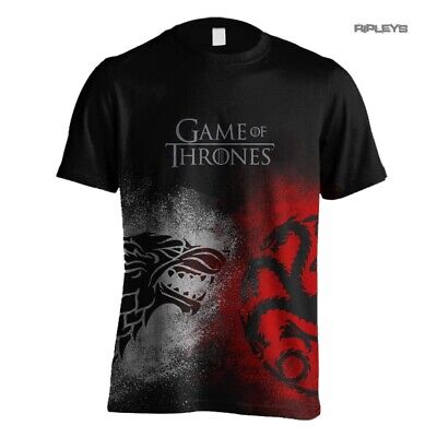 Official T Shirt Game of Thrones  Sigil  FACE OFF Stark & Targaryen All Sizes