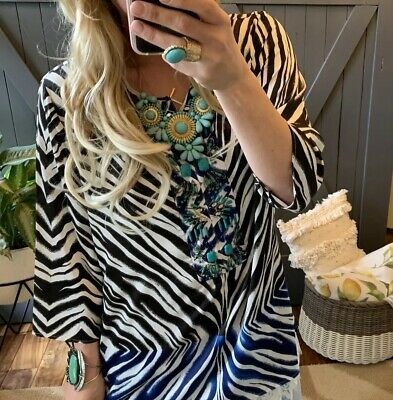 d5d80ee68361 L $148 Zebra Print Beaded Turquoise Tunic Blouse Top Womens Chico's LARGE 12