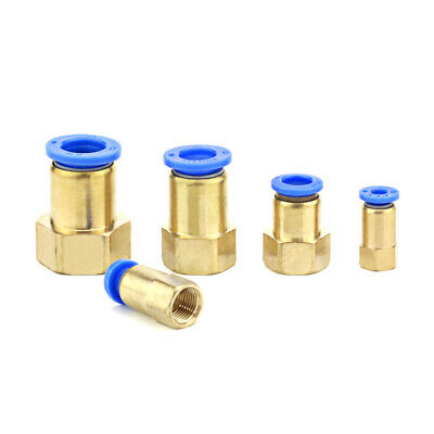 Brass Quick Pneumatic Extruder Push Fit Connector Female Thread straight through
