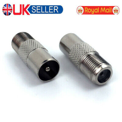 2PCS TV Antenna Cable Connector Adaptor F Female Socket To PAL Male Plug UK