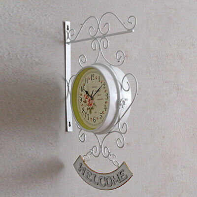 Bracket Wall clock Beautiful Decoration Ornament Cockerel Bell Outdoor Double