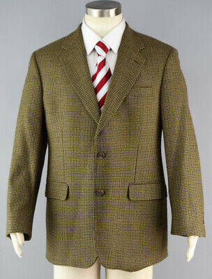 BROOKS BROTHERS 346 Brown Houndstooth Lambswool Sport Coat Jacket ~ Men's 40R