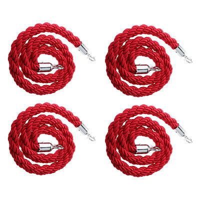 4x 150cm Red Queue Line Control Barrier Posts Safety Belt Twisted Rope