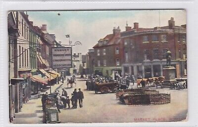 h england hampshire old antique picture postcard english market place romsey