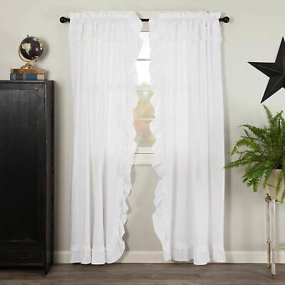 VHC Brands Muslin Ruffled Bleached White Farmhouse Primitive Country Curtains
