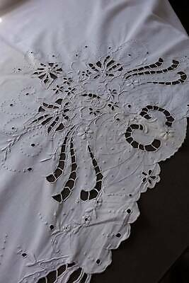Vintage UNUSED white cotton sheet with whitework hand embroidery  to the top