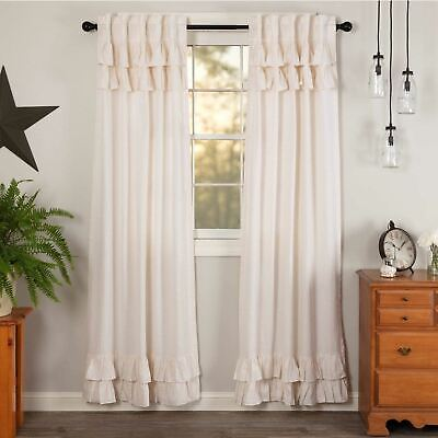 VHC Brands Linen Flax Antique White Ruffled Prim Farmhouse Country Curtains