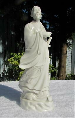 Vintage Antique Chinese Blanc de Chine Statue / Model of Warrior - Signed / Mark