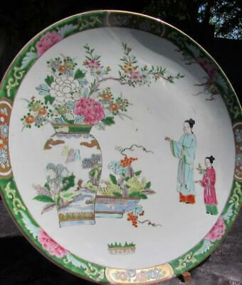 "Large 13"" Japanese Antique Signed Charger - Polychrome Decoration"
