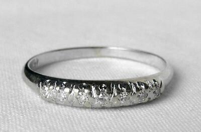 Vintage 14k White Gold Art Deco 7 Stone Diamond Wedding Band Stacking Ring~Sz 6