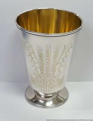 Huge Vintage Russian 875 Solid Silver Kiddush Cup Odessa Wine Goblet Gilt