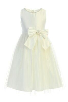 Ivory Flower Girl Satin Pearl Dress Baby Wedding Party Easter Bow Birthday New