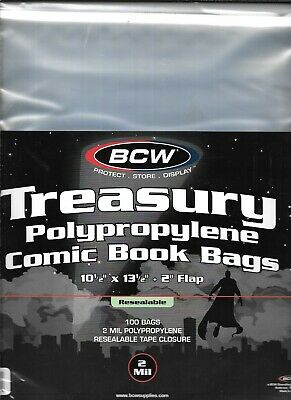 (200) Bcw Resealable Treasury Comic Book Size Bags / Covers