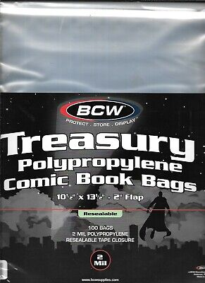 (300) Bcw Resealable Treasury Comic Book Size Bags / Covers