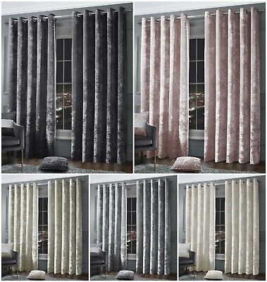 Crushed Velvet Fully Lined Ring Top Eyelet Stylish Thick Luxury Modern Curtains