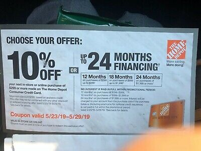 Home Depot 10% OFF Offer ONLINE/ IN STORE With HD Credit Card Valid 5/23-5/29/19
