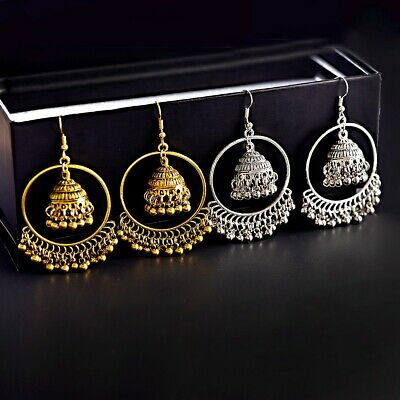 Retro Women's Gold Silver Bohemia Boho Bell Drop Dangle Jhumka Earrings Indian