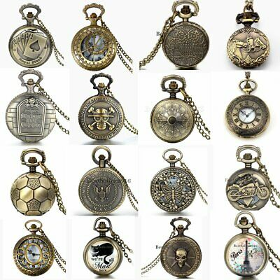 Mens Unisex Vintage Steampunk Retro Bronze Pocket Watch Quartz Pendant Necklace