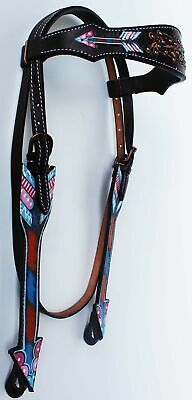 Horse Tack Bridle Western Leather Headstall BrowBand Turquoise Bling 80236HB